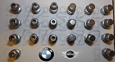 BMW Mini Locking Wheel Nut Key 11-40 8-23 Point Ribs Splines Solid Hollow ABC
