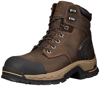 "Timberland Pro Series STOCKDALE 6"" WIDE ALLOY SAFETY TOE Brown Work Boots"
