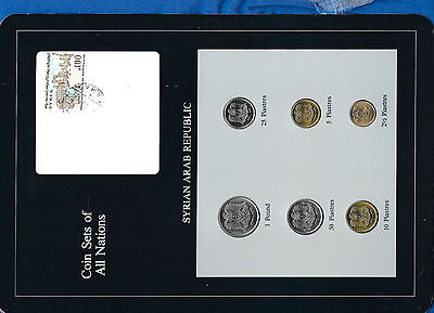 Coin Sets of All Nations Syria Syrian w/card UNC 6 coin RARE 1973 - 1979 UNC