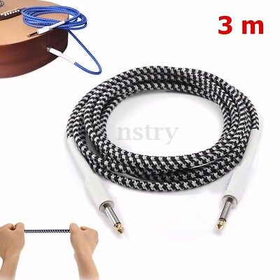 "3m Guitar Cable Lead Cord Noiseless 6.35mm 1/4"" Jacks for Amp Pedals Instrument"