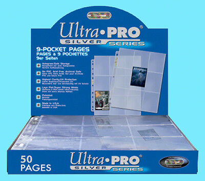 50 ULTRA PRO SILVER 9-POCKET Card Pages Storage Sheets Size 3 Ring Binder Sports