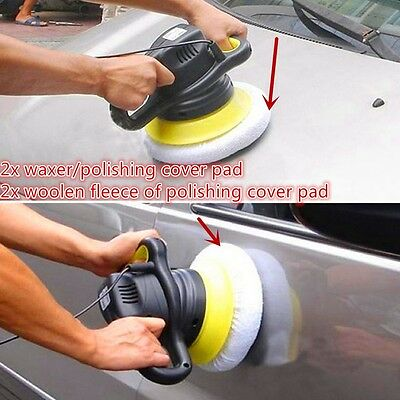 4Pc Car Wash Soft Wool Polishing Buffer Polishing Pad For 9inch&10inch Polisher