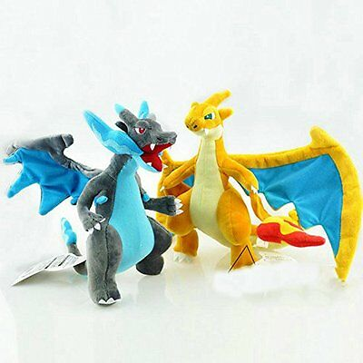 "Pokemon Center 12"" Plush Doll Stuffed Toy Mega Evolution X Y Charizard 2pcs set"