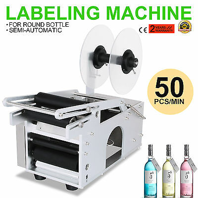 MT-50 Semi-Automatic Round Bottle Labeling Machine Coding Scrolling Labeler