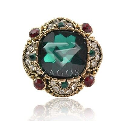 Emerald Retro Alloy Plated Antique Copper Crystal Fashion Jewelry Rings