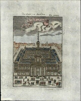 London Stock Exchange birds-eye view 1719 charming antique engraved urban print