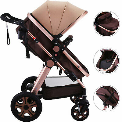 Foldable Pram Baby Stroller Five-Point Harness Newborn Carriage Large Basket