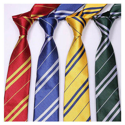 Boys Girls Striped Tie Hogwarts Four Neckties Harry Potter Style Students Speech
