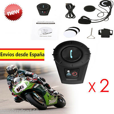 2x 500M Intercomunicador Auriculares de Casco motocicleta Bluetooth Headset Moto
