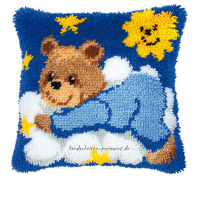 Vervaco Embroidery pillow 40x40cm TEDDY BEAR on a cloud Latch hook kit for Knot