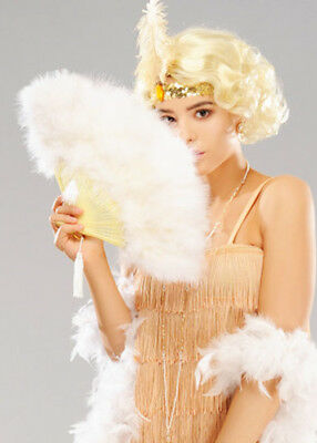 Deluxe 20s Flapper Girl White Feather Fan