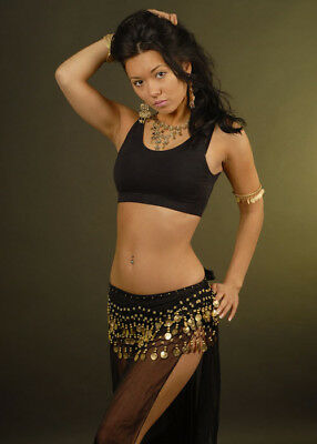 Black Belly Dancer Harem Gold Coin Sash