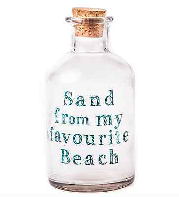 """Sand from my favourite beach"" Glass bottle Vintage Chic Jar Holiday Keepsake"