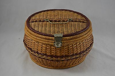 VINTAGE wicker sewing basket work box round early C20th c.1920s large