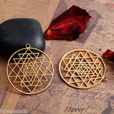 1PC Findings Gold Plated Hollow Sri Yantra Pendant For Necklace Jewelry