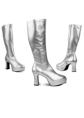 Ladies Silver 70s Disco Platform Knee Boots