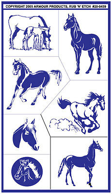 Armour Rub 'n' Etch Glass Etching Stencil Sheet ~ Horse Stallion Colt Horses