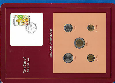 Coin Sets of All Nations Thailand wcard UNC 1989-1991 RARE 5 COINS SET 24.4.2533