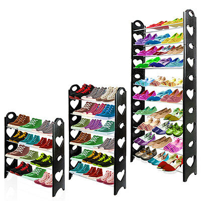 4/6/10 Tier Shoes Rack Storage Shelf Stand Organiser Stackable 12/18/30 Pairs