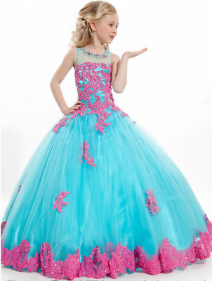 Flower Girls Lace Dress Princess Kids Pageant Party Dance Wedding Birthday Gown