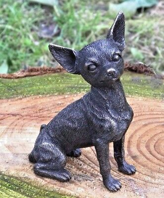 Chihuahua Cold Cast Bronze Figurine Sculpture Ornament Dog Lovers Gift