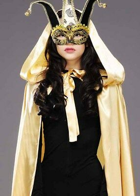 Masked Ball Stunning Masquerade Long Gold Satin Cape