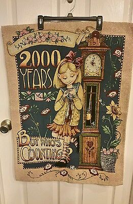 """Mary Engelbreit Tapestry.""""2000 Years But Who's Counting?""""girl With Clock 34X25''"""