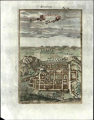 Edinburgh Scotland city plan 1719 charming antique folk-art like engraved map