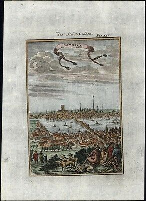 London England birds-eye prospect city view 1719 charming antique engraved map