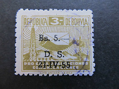 1955 - Bolivia - Surcharged In Black - Scott Ra21 Pt4 5B On 3B (2)