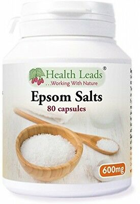 Epsom Salts (Magnesium Sulphate) 600mg X 80 Capsules (100% Additive Free