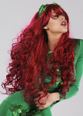 Ladies Long Red Wavy Poison Ivy Style Wig DOES NOT INCLUDE HEADBAND