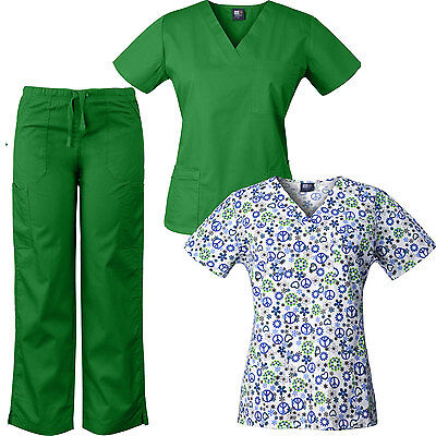 MedGear 3-Piece Womens Scrubs Set with Printed Scrub Top Combo 7891-PLAP