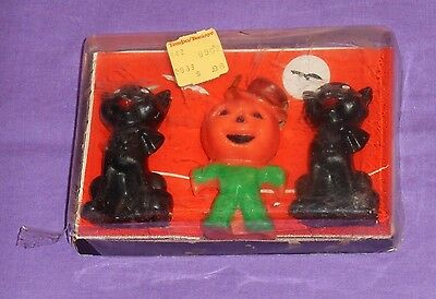 vintage Halloween GURLEY CATS & SCARECROW CANDLES with package