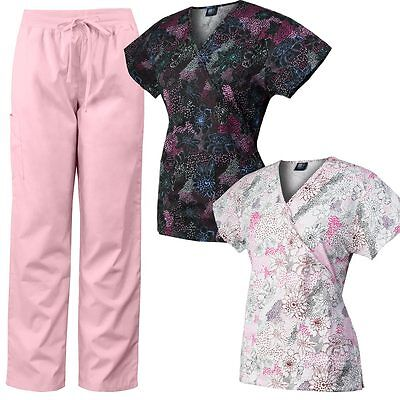 MedGear 3-Piece Womens Scrubs Set 2 Printed Scrub Tops & Matching Pants 109-CTCY