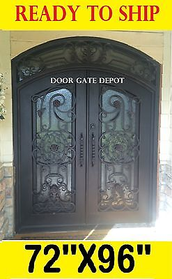 Wrought Iron Front Entry Doors With Tempered Glass 72''x96'' Dgda1027