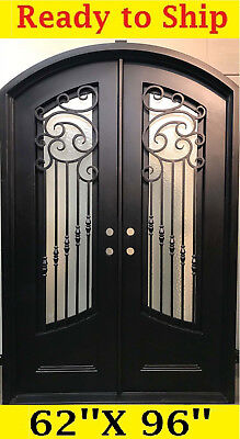 Wrought Iron Front Entry Doors With Tempered Glass 62''x96'' Dgd1016Abp