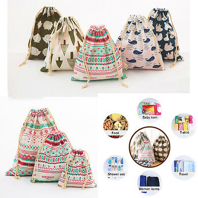 Home Cotton Linen Drawstring Storage Bag Toy Shoes Laundry Organizer Pouch