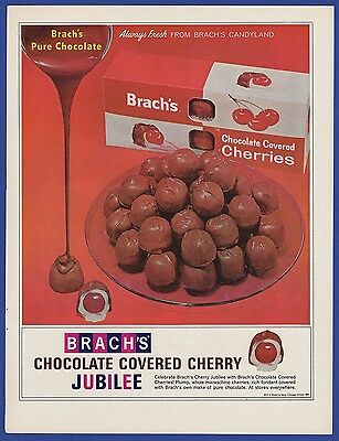 Vintage 1964 BRACH'S Chocolate Covered Cherries Jubilee Candy RARE Print Ad 60's