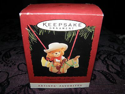 christmas tree decoration, barrel-back rider bear 1995, collectable keepsake