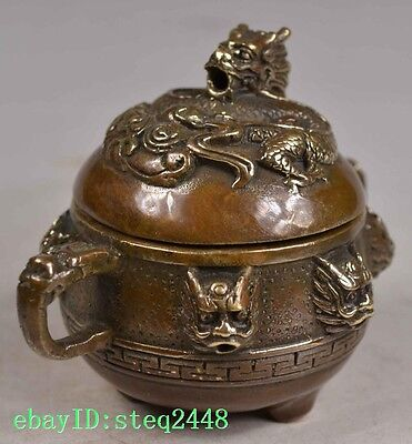 Old Collectibles Chinese Handwork Copper Carving Incense Burner Dragon Lid