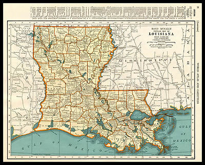 U.S. State LOUISIANA New Orleans 1937 antique color lithograph Map