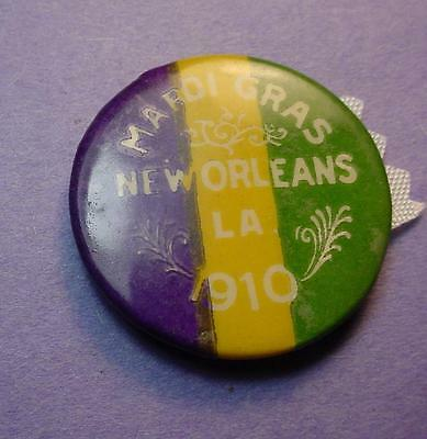 106 Years Old Mardi Gras Cello Pinback 1910 New Orleans 33Mm & Nice . <>Df3477