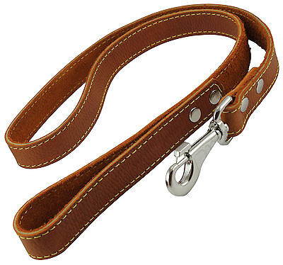"""Genuine Thick Leather Dog Leash 4' Long, 1"""" wide, for Xlarge Breeds"""