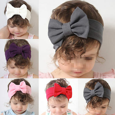 Baby Kids Toddler Girls Stretch Big Bow Knot Turban Hairband Headband Headwrap