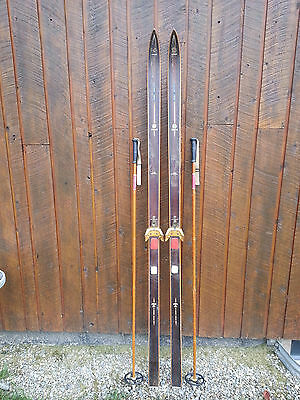 "OLD Interesting Vintage Wooden 77"" Long Skis BROWN Finish"