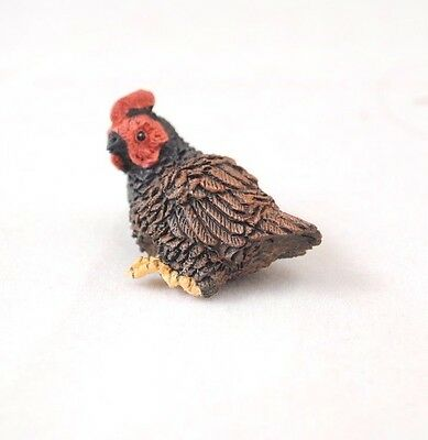 Chicken - Sitting Hen - Brown -  dollhouse miniature  A3308br  1/12 scale