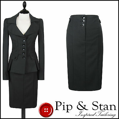 Next Uk8 Us4 Black Pencil Skirt Suit 50S Inspired Women Ladies Woman Size