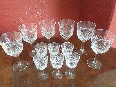 2 Sets of Russian matching large and small 12 cut crystal wine liquor glasses