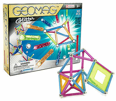 Geomag 30-Piece Glitter Construction Set with Assorted Panels - Mentally Stimula